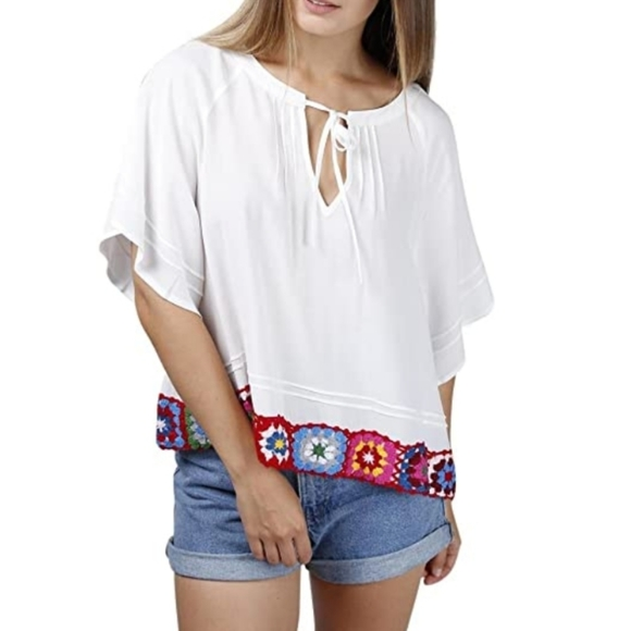 NWT Central Park West Oleander Bell Sleeve Top